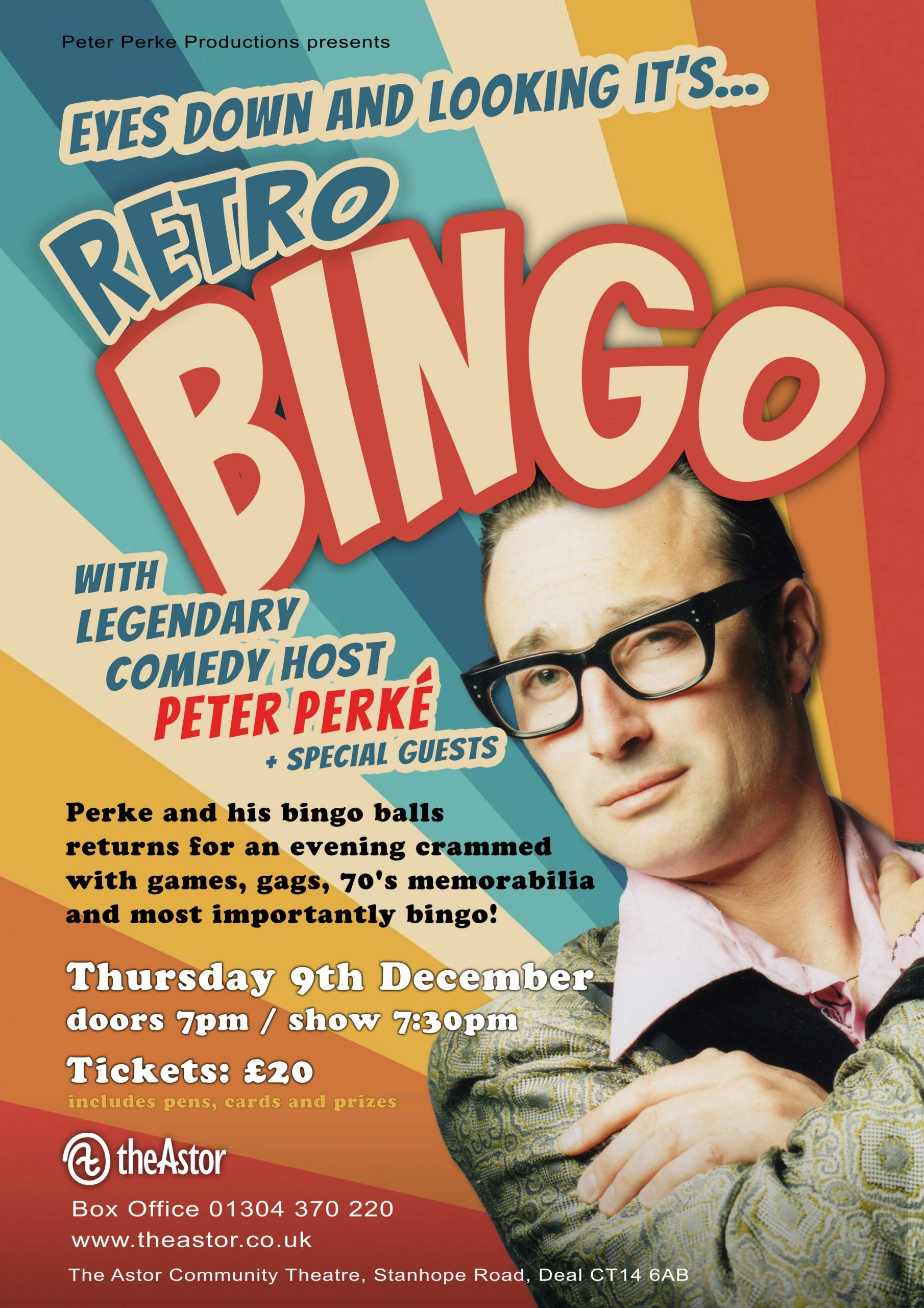 Poster promoting a Bingo night at The Astor Theatre in Deal on 9th December 2021. Man dressed in retro clothing and wearing glasses with his arms crossed over his chestng