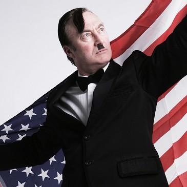 Frank Sanazi hold American flag up